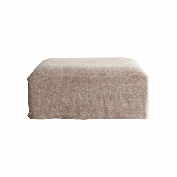 Footstool Frida mit stonewashed Linen in camel