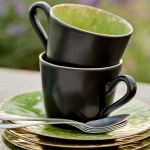 French Riviera - Espresso-Tasse mit Utertasse - in green